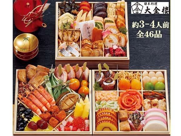 美しく盛り込んだ日本料理おせち