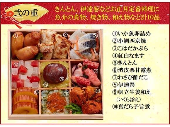 弐の重は煮物、焼き物、和え物など10品