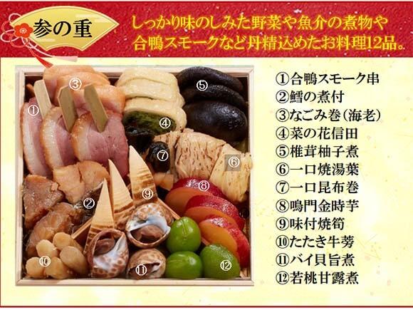 参の重は魚介の煮物や野菜など12品