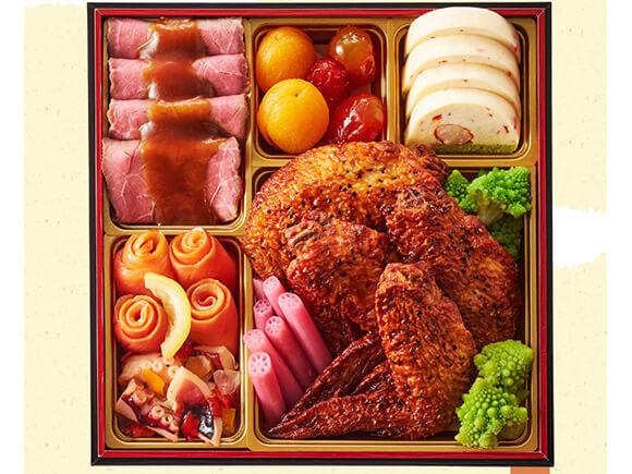二の重はお肉たっぷり洋風料理